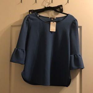 Green Envelope blue 3/4 length blouse